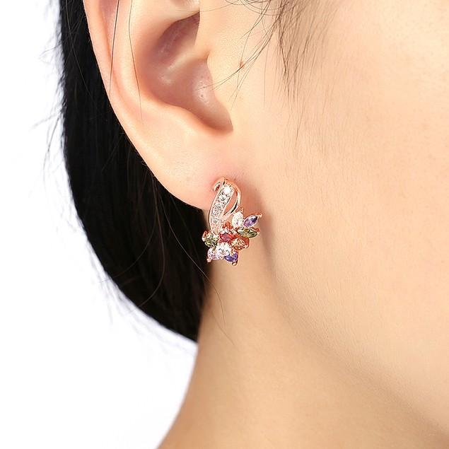 Crystal 18K Rose Gold Filled Mona Lisa Flower- Stud Earring