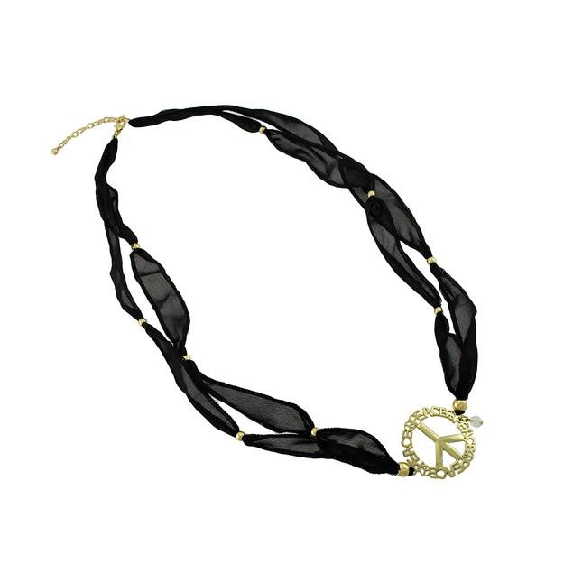 Black Beaded Ribbon Gold Tone Peace Sign Wrap Womens Wrap Bracelets