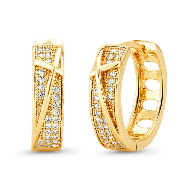 18kt Yellow Scribbled Goldtone Cubic zirconia  Huggie Earrings