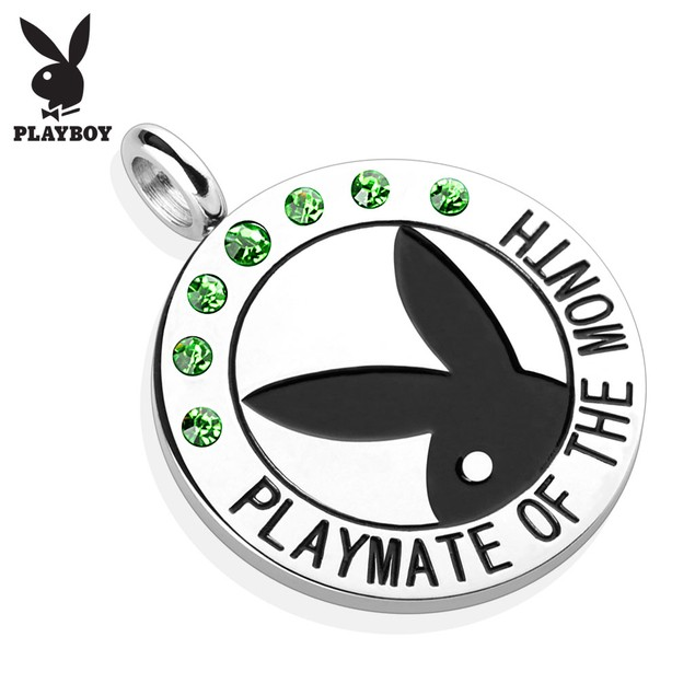 """Playboy Logo with Colored Gems """"Playmate Of The Month"""" Pendant"""