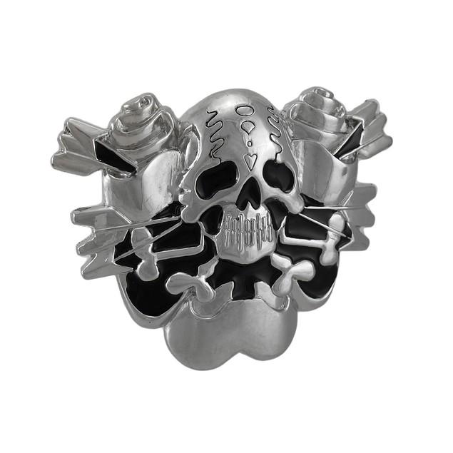 Skull & Crossed Arrows Chrome / Enamel Belt Buckle Mens Belt Buckles