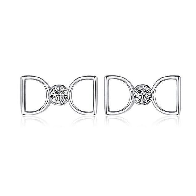 Silver Tone Centered CZ Earrings