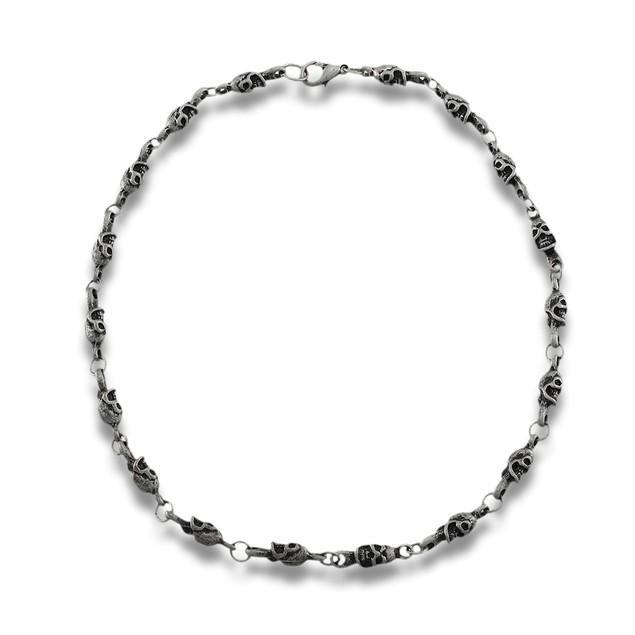 Matte Pewter Finish Industrial Skull Link Necklace Mens Pendant Necklaces