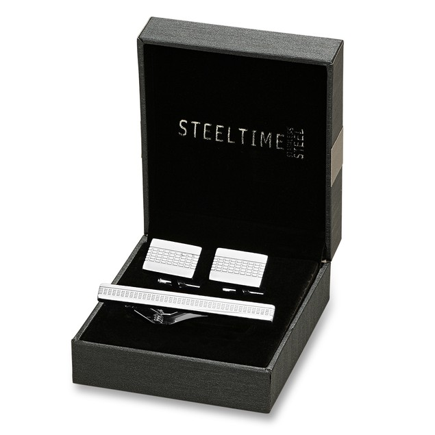 Box Set Stainless Steel Tiled Cufflinks and Tiebar