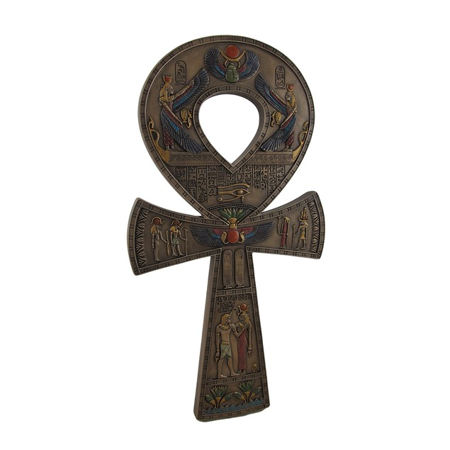 Bronze Finished Ancient Egyptian Ankh Symbol Wall Wall Sculptures