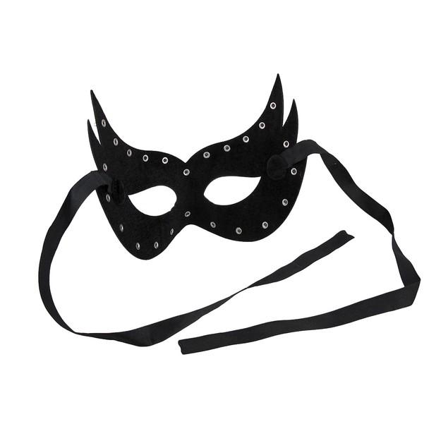Glossy Black Vinyl Spiked Studded Half-Face Mask Mens Costume Masks