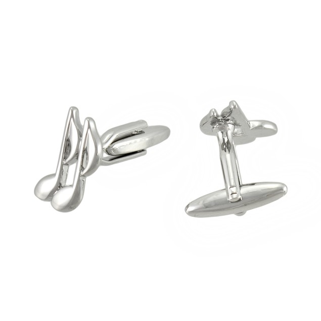 Polished Chrome Music Notes Cufflinks Mens Cuff Links