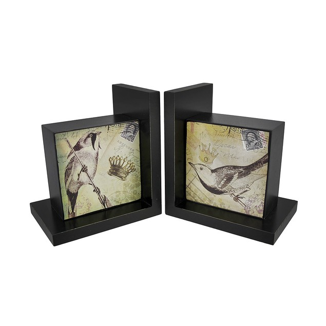 Pair Of Decorative Beautiful Wooden Bird Bookends Decorative Bookends