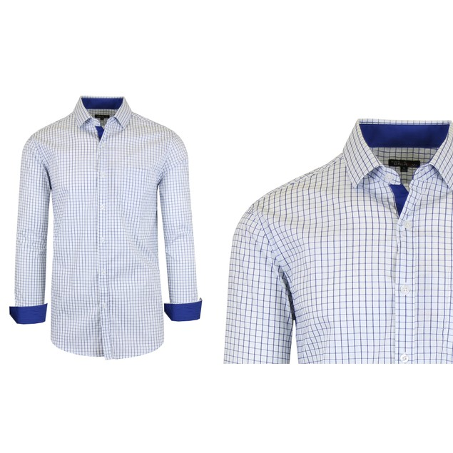 Men's Long Sleeve Slim-Fit Cotton-Stretch Printed Plaid Dress Shirts