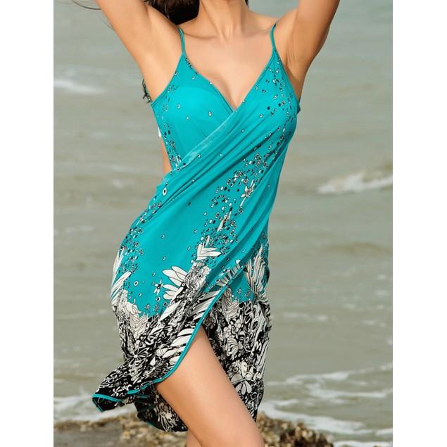 Turquoise Bikini Wrap Dress