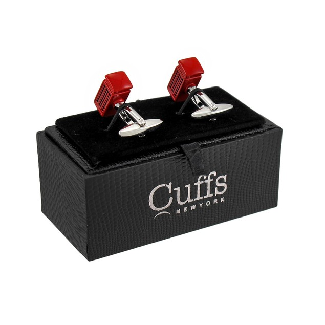 Red Enamel British Telephone Booth Cufflinks Mens Cuff Links