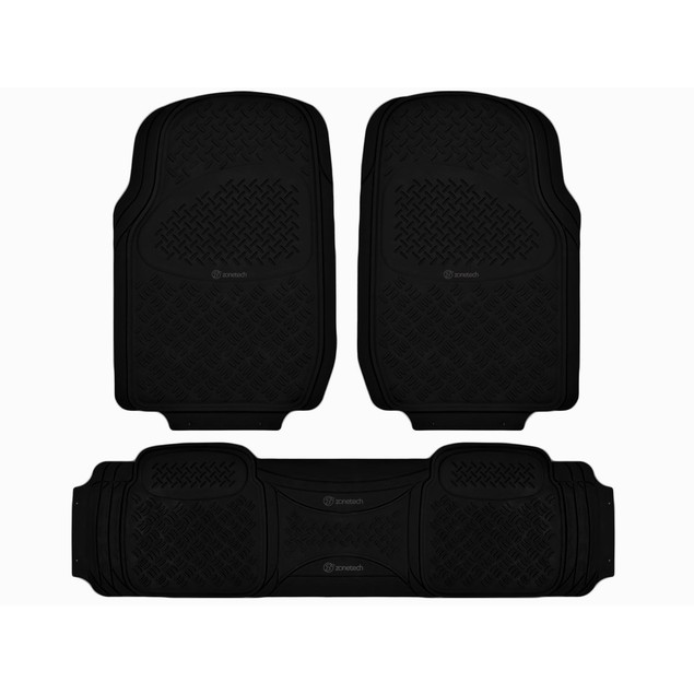 Zone Tech Mats for All Weather Rubber 3pc Set Diamond Fit Heavy Duty Black