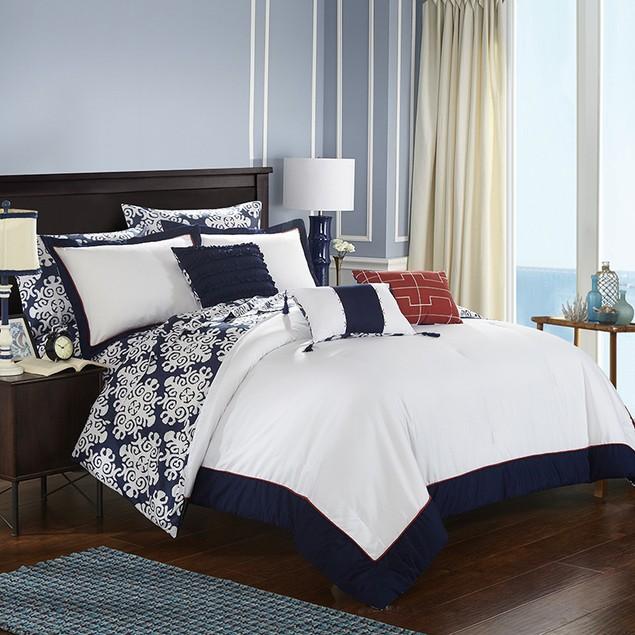 Chic Home 8/10 Pc. Wade Geometric Medallion Print Reversible Comforter Set