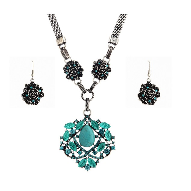 Druzy Crystal Turquoise Necklace Set