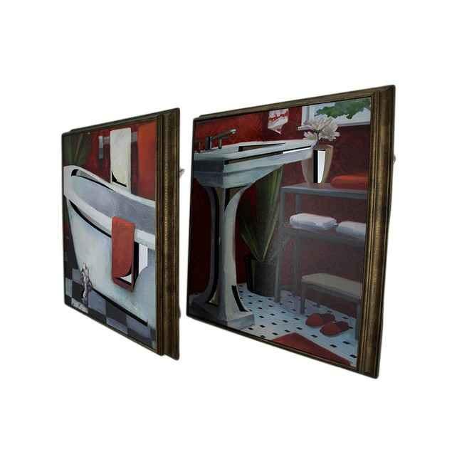 2 Pc. Framed Tub And Sink Wooden Wall Hanging Set Prints