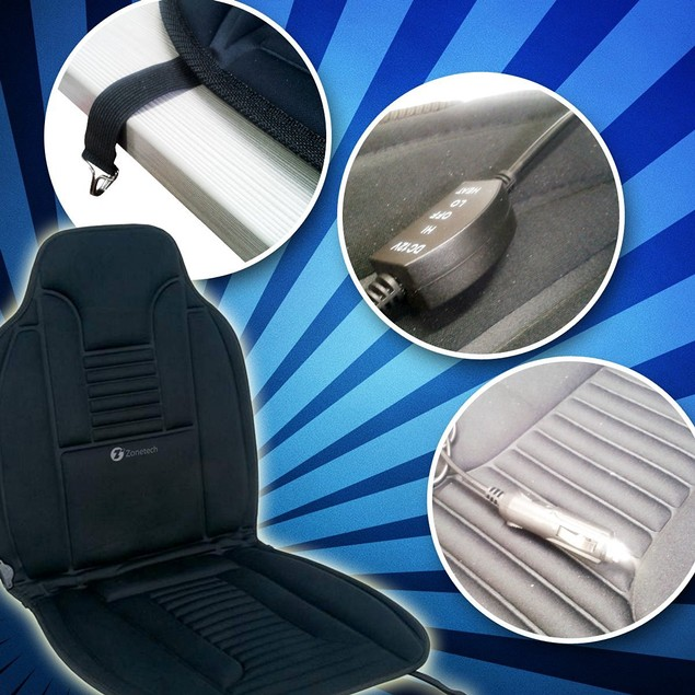 Zone Tech Heated Car Seat Cushion 12V Heating Warmer Pad Hot Cover