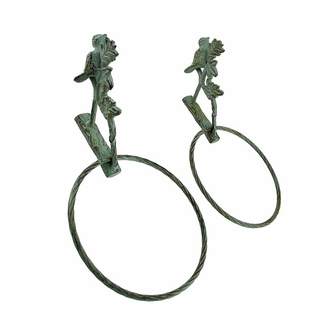 Pair Of Cast Iron Bird Towel Rings Verdigris Towel Bars
