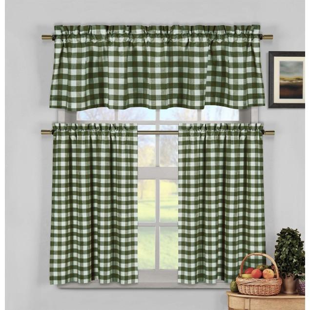 Hamilton 3 Piece Kitchen Curtain Set Available In 4: 3-Piece Kingston Window Kitchen Curtain Tier & Valance Set