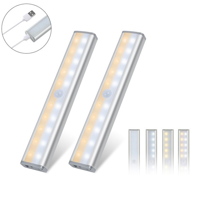HAKOL 2-Pack 20 LED Wireless USB Rechargeable Indoor Motion Sensor Lights
