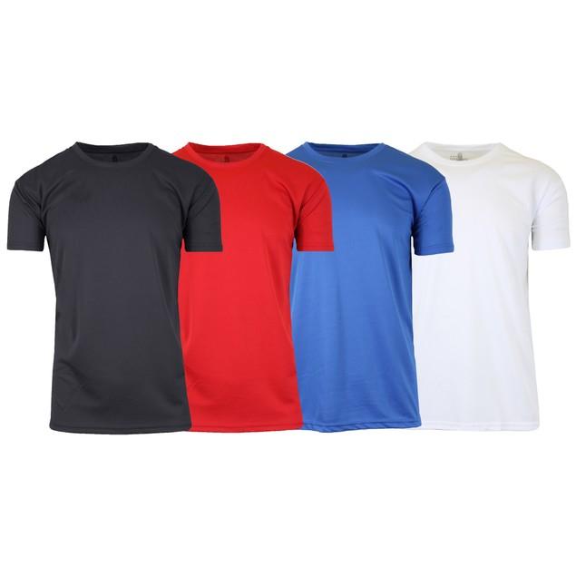 4-Pack Men's Moisture Wicking Wrinkle Free Performance Short Sleeve Tee