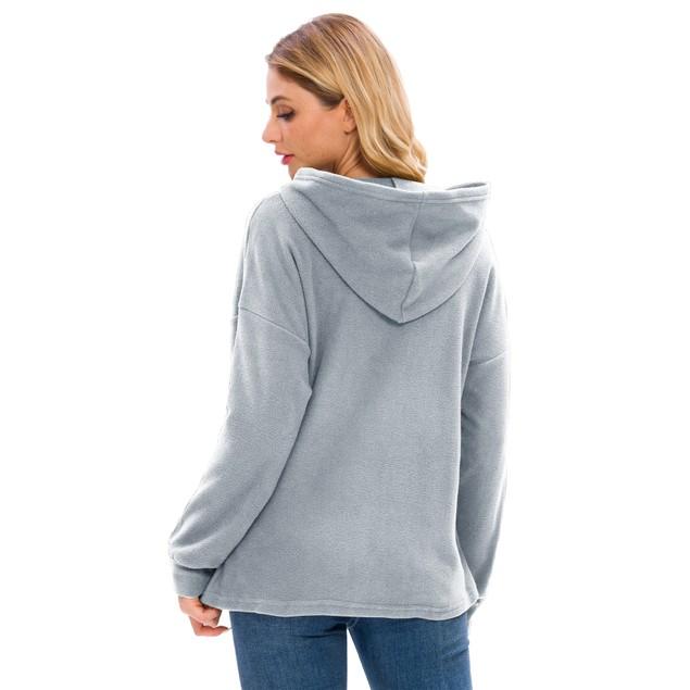 Lilly Posh Long Sleeve Solid High Collar Hoodie