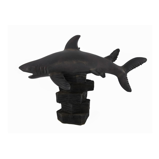 Mother And Child Shark Wooden Look Statue Statues