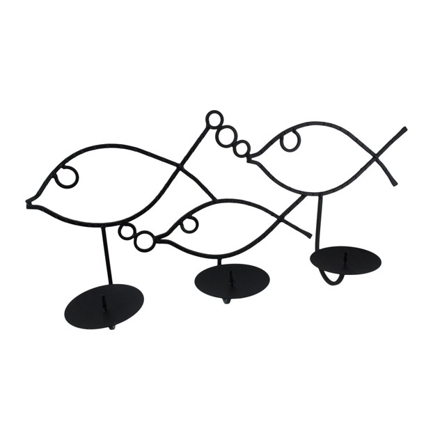 Wrought Iron Wall Mounted Fish 3 Pillar Candle Candleholders