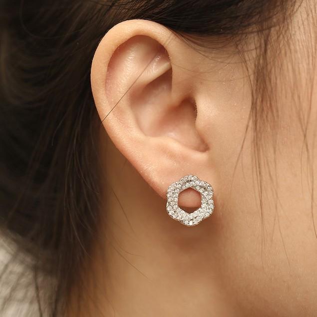 Cubic Zirconia Rose Earrings