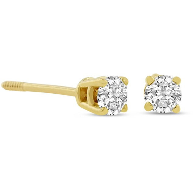 Certified 1/4ct Natural Genuine Diamond Stud Earrings In 14 Karat Yellow Gold