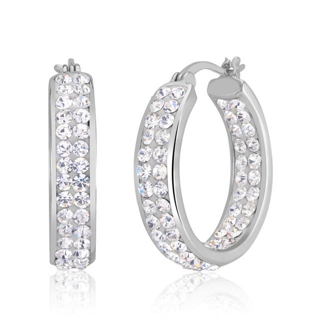 Gold Plated Crystal Hoop Earrings