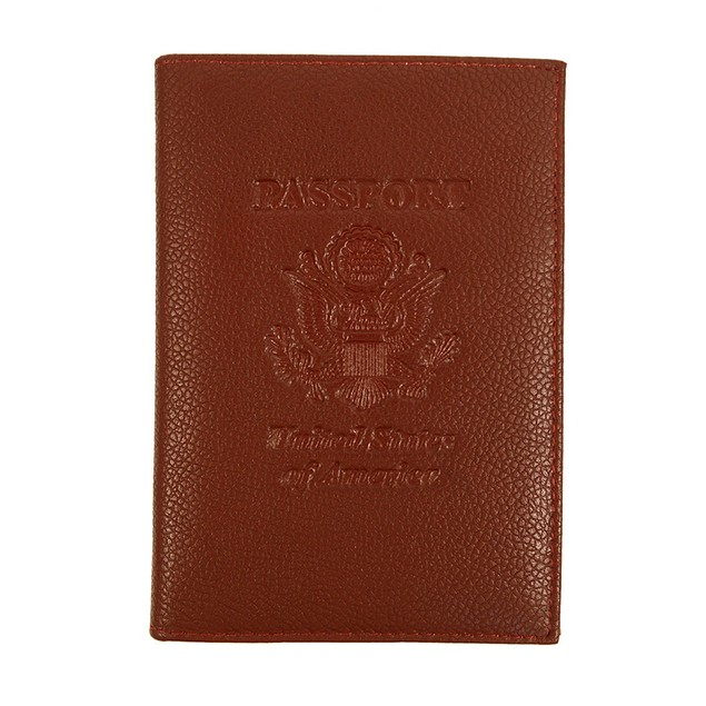 RFID Genuine Leather American Eagle Embossing Passport Case