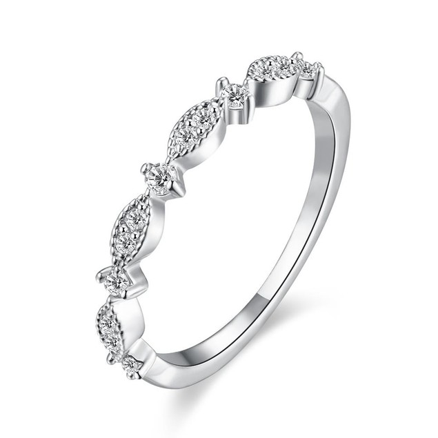 White Gold Plated Swirl Crystal Ring