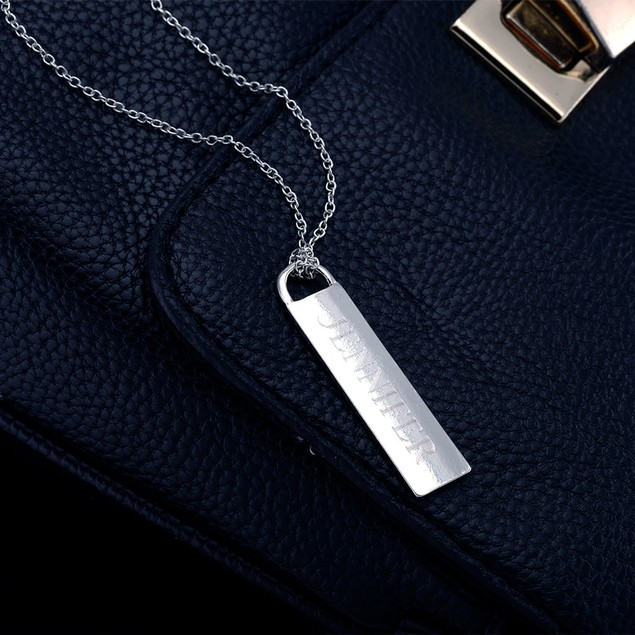 Personalized Long Bar Drop Necklace