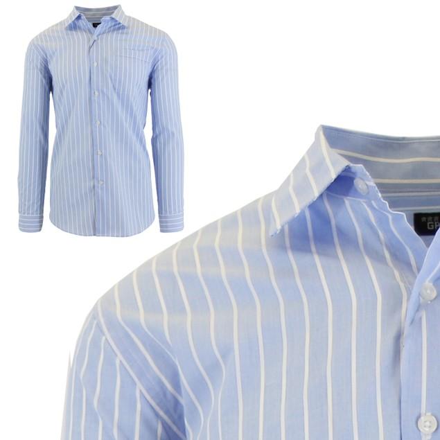 Men's Slim-Fit Plaid Dress Shirts With Chest Pocket