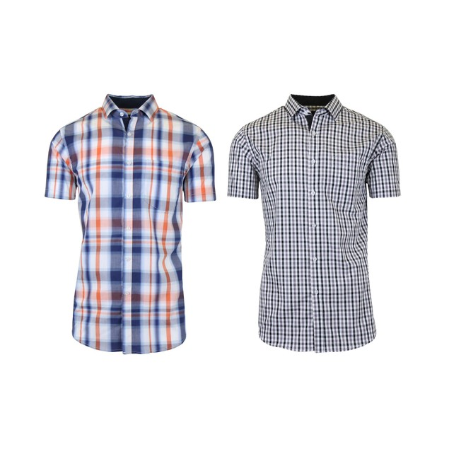 2-Pack Men's Short Sleeve Slim-Fit Casual Dress Shirts