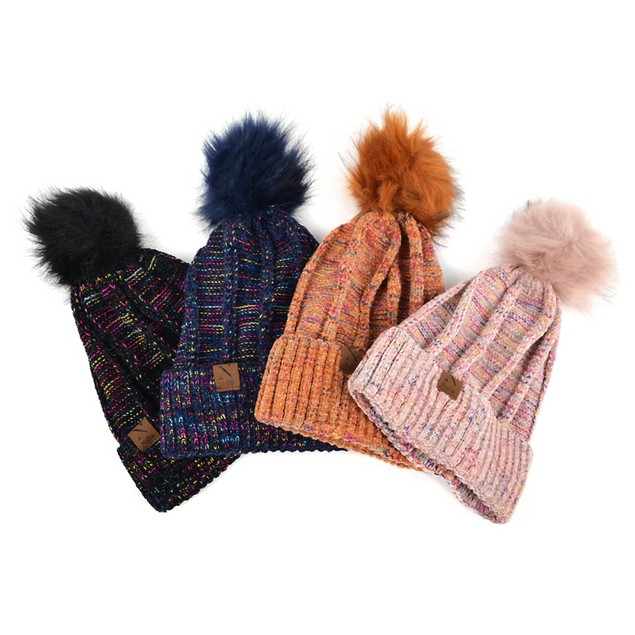 Women's Extra Soft Multicolored Pom Pom Knit Winter Hat
