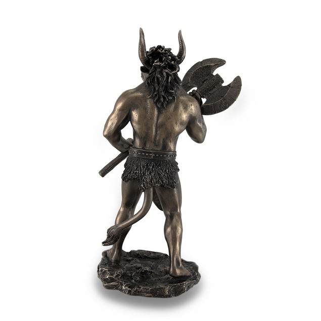 Bronze Finished Minotaur With Labrys Statue Greek Statues