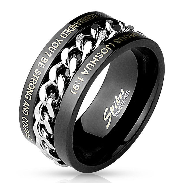 Chain Spinner Center w/Bible Words Engraved Stainless Steel Ring