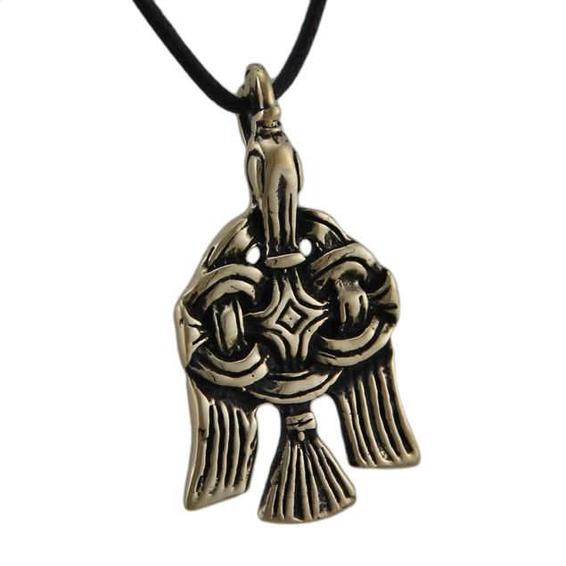 Bronze Celtic Raven Pendant Necklace Mens Pendant Necklaces