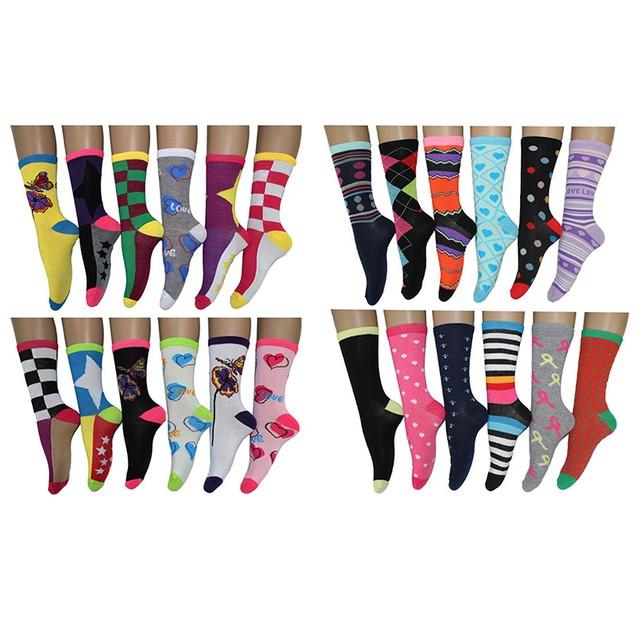24-Pairs Frenchic Women's Fun & Hip Crew Socks