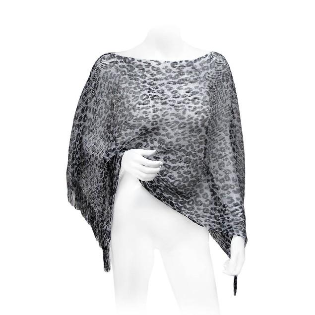Black And Silver Metallic Leopard Print Womens Ponchos