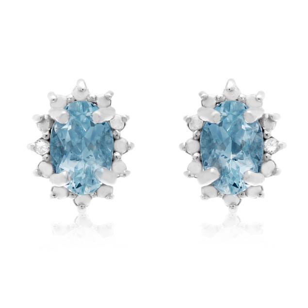 3/4 Carat Aquamarine and Diamond Earrings In Sterling Silver