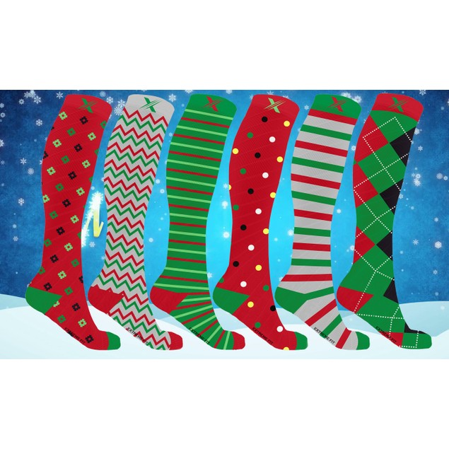 6-pairs Christmas Themed Knee High Compression Socks