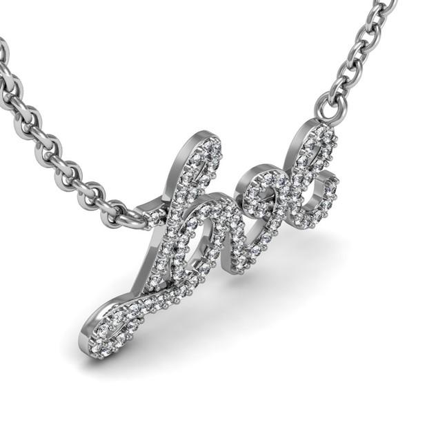 Sterling Silver 1/2 Carat Diamond Love Necklace