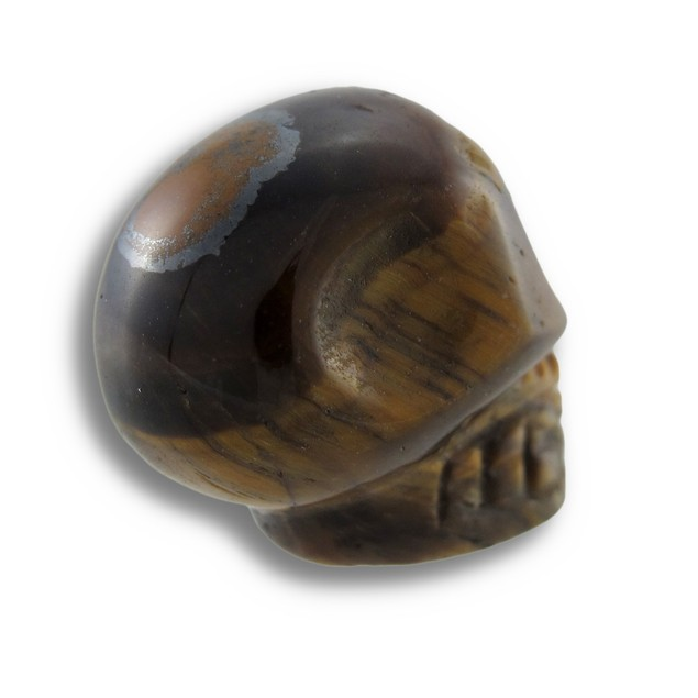 Beautiful Carved Tiger Eye Gemstone Skull 25Mm 1 Loose Gemstones