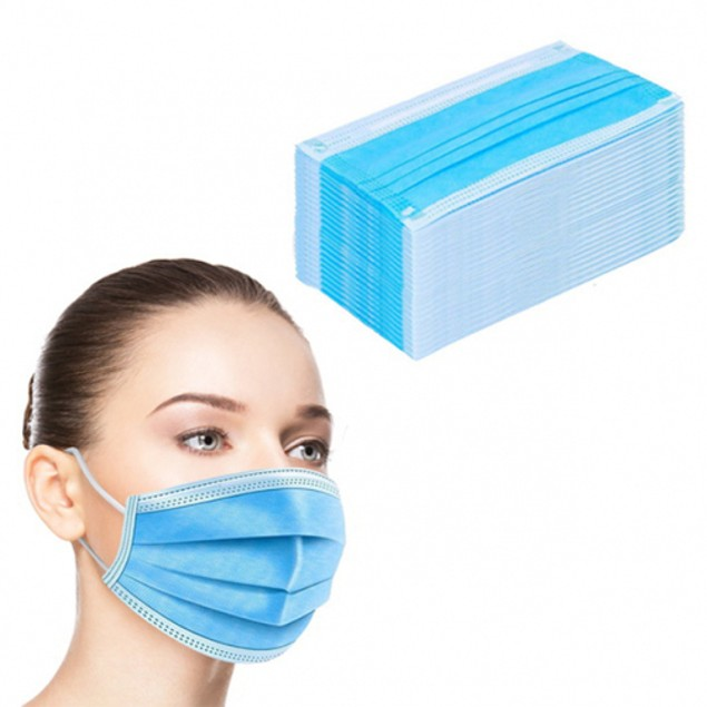 100-Pack 3-Ply Disposable FDA/CE Approved Sanitary Earloop Face Mask