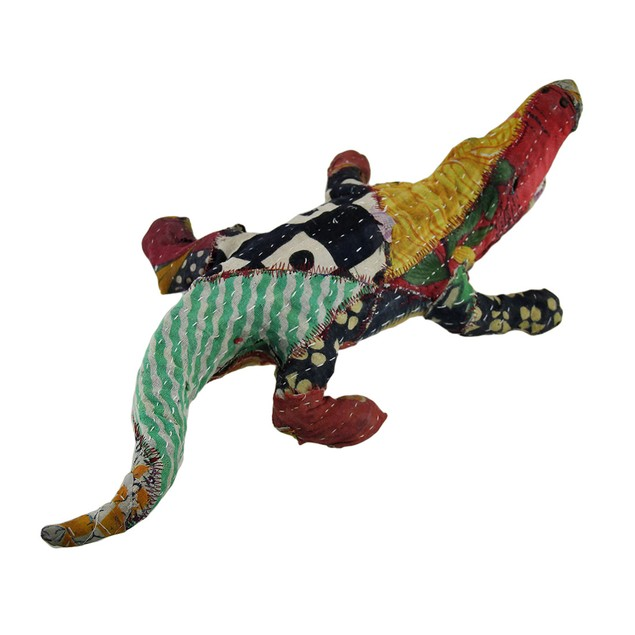 Vintage Sari Fabric Covered Paper Mache Alligator Statues
