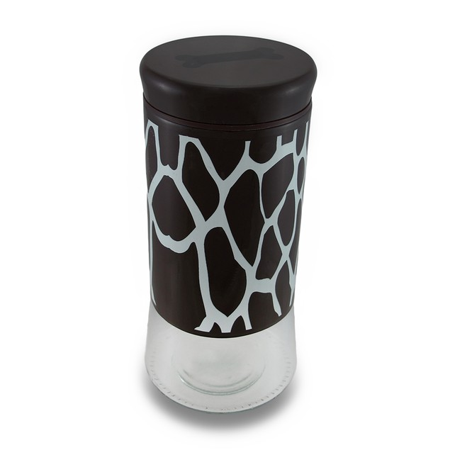 Brown And White Giraffe Print Pampered Pooch Glass Food Storage Bins And