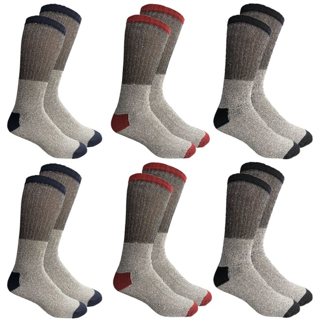 6-Pack Unisex Insulated Thermal Cotton Cold Weather Crew Socks