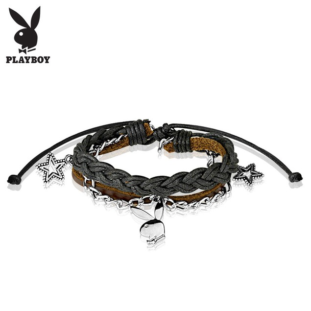 Playboy Bunny Charm Layered Leather and Brass Bracelet